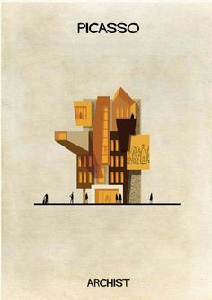 Iconic works from artists including Piet Mondrian, Andy Warhol, Damien Hirst, Marcel Duchamp and more are reinterpreted as cross-sectional drawings of buildings in this series from Italian architect and illustrator Federico Babina - Picasso Kunst Picasso, Art Picasso, Pablo Picasso, Piet Mondrian, Andy Warhol, Dali, Art Et Architecture, Architecture Illustrations, Planer Layout