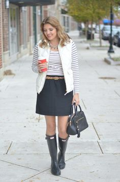 fall style: excursion vest with striped tee and a skirt via fizzandfrosting.com