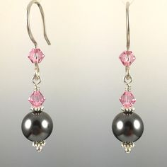 - Dark Grey Swarovski Crystal Pearls and Swarovski Crystals - 8mm Pearl at the bottom - 100% .925 Sterling Silver Earwires & Components - Earwires and Links are Hand Formed With Sterling Silver Wire - Rubber Earring Backers