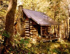 My little log cabin tucked deep in the woods.