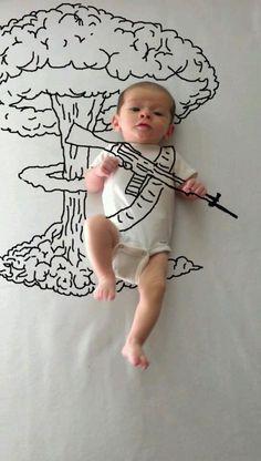 bébé militaire dessins à la main