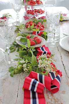 of July red, white and blue ribbon table runner, or in Norway: VIBEKE DESIGN. of July red, white and blue ribbon table runner, or in Norway: VIBEKE DESIGN: We decorate for May Fourth Of July Decor, 4th Of July, Norway National Day, May 17, Vibeke Design, Norwegian Food, Holiday Photography, Party Entertainment, Floral Arrangements