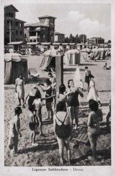Lignano Sabbiadoro, shower on the beach, 1948 Street View, Spaces, Beach, The Beach, Beaches