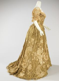 """Ball Gown, 1898-1902 - Jacques Doucet. """"This piece is an exquisite example of a lavish ball gown made by one of the grandest French couture houses of the period. The material used is of the finest quality, extremely delicate and dramatically embroidered. The cut of the bodice is quite seductive, enhancing the silhouette."""" http://fashioninhistory.tumblr.com"""