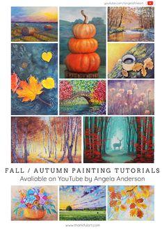 Angela Anderson Art Blog Canvas Painting Tutorials, Easy Canvas Painting, Painting Lessons, Easy Paintings, Acrylic Paintings, Rock Painting, Diy Painting, Art Lessons, Summer Painting