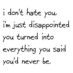 I don't hate you.. I'm just dissapointed