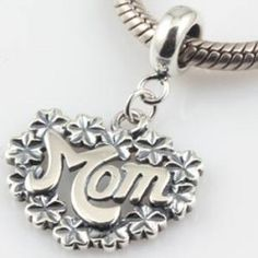 Mom Flowers Dangle Authentic Sterling Silver Solid Core Charm Family and Friends