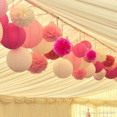 White Pink Hot Pink Paper Lanterns & Pom Poms