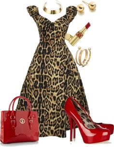 """Leopard & red"" by roz-harman on Polyvore. Love these to together!!"