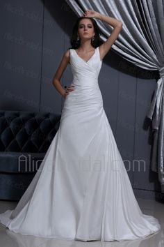 Taffeta V-Neck Sweep Train A-Line Wedding Dress with Ruffle - Alice Bridal