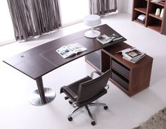 Vitra Executive Desk in Walnut & Brown Leather