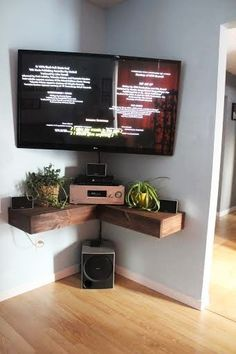 Our weekend project! corner component shelves , and mounted TV
