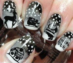 Black and white winter nail art. The nail art design almost has a vintage take on it. The black and white design simply adds to the novelty and uniqueness of the design. Funky Nail Art, Crazy Nail Art, Funky Nails, Crazy Nails, Love Nails, Pretty Nails, Color Nails, Holiday Nail Art, Winter Nail Art
