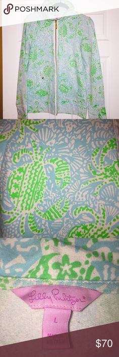 Lilly Pulitzer Leona Zip Up Sweatshirt Barely worn! I bought this last summer on Cape Cod, it's a cute and comfy little zip up to keep you warm on a chilly summer night Lilly Pulitzer Tops Sweatshirts & Hoodies