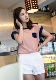 contrast cuffed sleeves, neckline, chest pocket & back see-through blouse  CODE: SWB302  Price: SG $23.45(approx US $18.91)