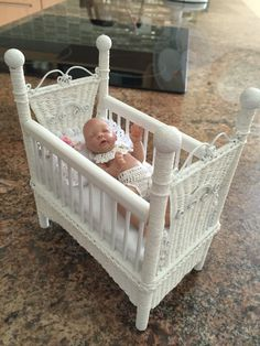 Cot I made for a doll I had Cot, Bassinet, Miniatures, Dolls, Furniture, Home Decor, Crib Bedding, Baby Dolls, Crib
