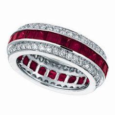 4.42ct Red Ruby  Diamond Channel Eternity Gemstone Wedding Band Ring 14k White Gold - $2490