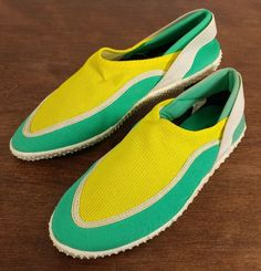 14.50$  Buy now - http://visro.justgood.pw/vig/item.php?t=0dq5ks21363 - Womens Teal & Yellow Lands End Water Boat Shoes - Size 6 14.50$