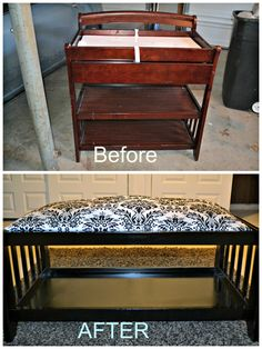 I took a Changing table and turned it into a bench just by cutting off the top, spray painting it black and taking the pad on the changing table and putting stuffing and fabric on top. It was so easy and quick to do.