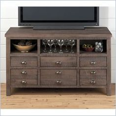 Jofran TV Console in Falmouth Weathered Grey - Farmhouse - Media Storage - other metro - by Cymax Jofran Furniture, Grey Furniture, Farmhouse Media Storage, 50 Tv Stand, Tv Stand Wayfair, Cool Tv Stands, Living Room Redo, Media Unit, Bath And Beyond Coupon
