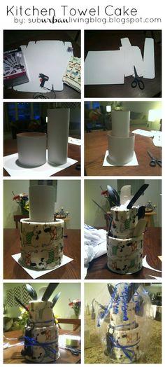 Kitchen Towel Cake - Bridal Shower - Gift   subURBAN living blog