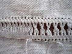 Today, I'd like to show you how to make zig-zag bundles in your drawn thread work. It helps to understand basic hemstitch before moving on to zig-zags, so you m Hardanger Embroidery, Beaded Embroidery, Cross Stitch Embroidery, Hand Embroidery, Smocking Patterns, Embroidery Patterns, Hem Stitch, Fabric Embellishment, Drawn Thread