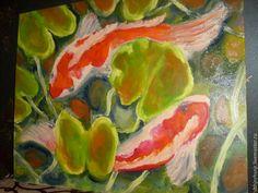 """Купить Картина """"Волшебные рыбки """" масло, кои - рыбки, волшебные рыбки, карп, кои"""