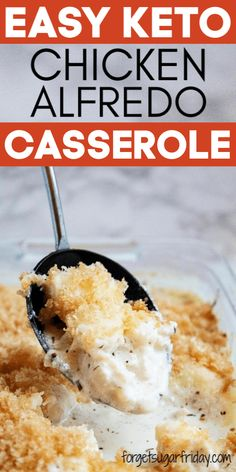 This easy keto casserole is creamy, cheesy, crunchy, and oh-so-delicious. If you're looking for a keto chicken recipe or keto casserole recipe, you're going to love this one! You can have this low carb cas Chicken Alfredo Casserole, Keto Casserole, Casserole Recipes, Low Carb Chicken Casserole, Alfredo Chicken, Casserole Dishes, Low Carb Dinner Recipes, Keto Dinner, Dinner Healthy