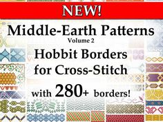 """**New** Launch price only 9,00€!! Massive collection of Patterns for Cross-Stitch borders inspired by the trilogy of The Hobbit! PDF FILE for INSTANT DIGITAL DOWNLOAD with 280+ borders!!  """"Middle-Earth Patterns - Hobbit Borders for Cross-Stitch"""" is the new booklet full of patterns for Cross-stitch borders inspired by the trilogy of """"The Hobbit"""", especially the great variety of decorations made on clothing, weapons, armors and buildings created for the movies, or for the merchandise. This new…"""