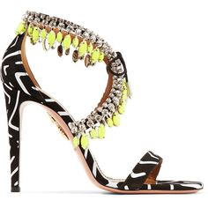 Aquazzura Milla crystal-embellished printed suede sandals ($1,695) ❤ liked on Polyvore featuring shoes, sandals, black, black slip-on shoes, embellished sandals, slip on sandals, black sandals and slip-on shoes