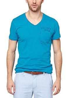 s.Oliver Herren T-Shirt Single Jersey 13.506.32.2450, Einfarbig, Gr. Medium, Türkis (turquoise melange 62W0)
