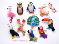 BIRDS Felt Magnets Price per 1 item make by LadybugOnChamomile