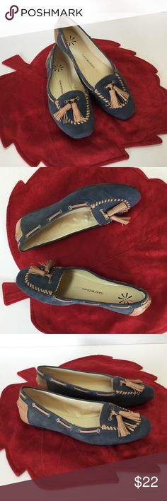 Issac Mizrahi Leather Flats I usually ship in 24 to 48 hours.  Styling and comfortable looking Blue Suede Leather Flats with Neutral trim.  Size 7.50 M.  Designed by Isaac Mizrahi.  Good preloved condition. Isaac Mizrahi Shoes Flats & Loafers