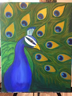 Acrylic painting of a peacock.