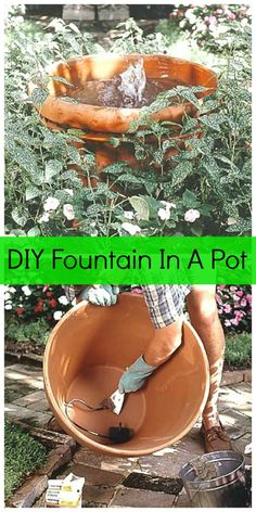 How To Make A Fountain In A Pot - DIY Outdoor Projects <br> Here's how to easily add a water feature to your yard with a DIY garden fountain made from pots! You can do this with an old terra-cotta pot or newer resin pots. Diy Water Fountain, Diy Garden Fountains, Fountain Garden, Outdoor Fountains, Fountain Ideas, Fountain Design, Garden Ponds, Koi Ponds, Solar Fountains