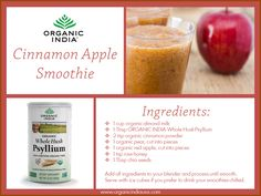 This delicious smoothie is loaded with nutrition and heart-healthy fiber. Take an organic pear and apple, cut into pieces and add to a blender with organic almond milk, cinnamon powder, and raw honey. Finally add in chia seeds and ORGANIC INDIA Whole Husk Psyllium and blend. You are on your way to a healthy, refreshing, delicious treat.