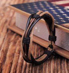 $2.99 - Sg347 Adjustable Hemp Leather Handmade Braided Wristband Bracelet Cool Mens #ebay #Fashion