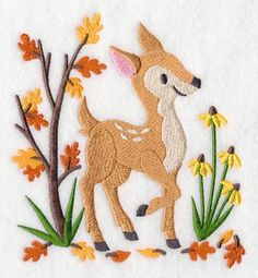 "This free embroidery design is called ""Autumn Prance"".    This baby deer enjoys autumn in a sweet design for wall hangings, quilts, towels, ..."