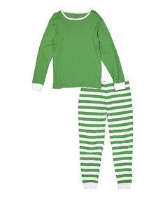3b914cb1109 Loving this Green  amp  White Stripe Organic Cotton Pajama Set - Men s  Regular on
