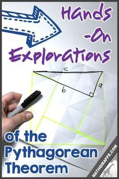 Hands-On Explorations, Activities, & Ideas for Pythagorean Theorem. Folder Paper Proof is the best! Teaching Geometry, Geometry Activities, Teaching Math, Math Activities, Math Teacher, Math Games, Teaching Resources, Teaching Ideas, School Resources