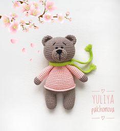 194 отметок «Нравится», 4 комментариев — Юлия (@yuliya.pakhomova) в Instagram: «Очень люблю это сочетание цветов,весенее и нежное Мишка ростом 23см,пряжа хлопок/акрил,наполнитель…»