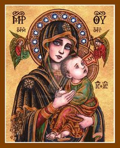 """Our Lady of Perpetual Help June 27th 2013 Watercolor and Ink; GIMP 4.5 by 6 inches """"Hail, O Queen of Heaven enthroned. Hail, by angels mistress owned. Root of Jesse, Gate of Morn Whence the world's..."""