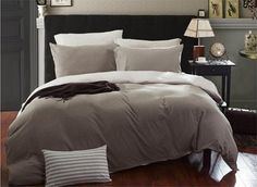 100 Cotton 4 Piece Solid 2 Toned Light Brown And Grey Jersey Duvet Cover Set