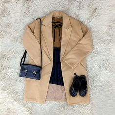 Brown knit, beige jacket, checkered navy skirt, black loafers, black shoulder bag.  Korean Fashion