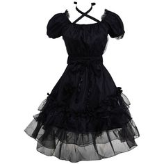 Amazon.com: Hugme Black Cotton Yarn Ruffled Classic Lolita Dress:... ($60) ❤ liked on Polyvore featuring dresses, frilly dresses, frill dress, ruffle dress, flouncy dress and flutter-sleeve dress
