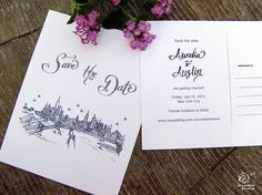 Scripted Save the Date Wedding - (100) City Skyline Postcards - A2 sized (4.25 x 5.5) on Etsy, $200.00