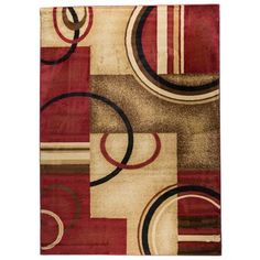 Arcs and Shapes Red Rug (5'3 x 7'3) - Overstock™ Shopping - Great Deals on 5x8 - 6x9 Rugs