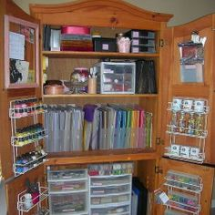 Turn a TV Armoire into a craft closet