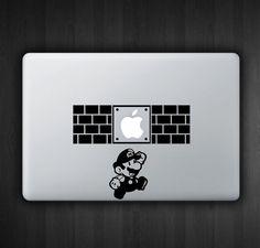 "Super Mario Hit 13"" Macbook Decal Macbook Sticker Air Pro Vinyl Decal Sticker Skin for Apple Laptop. $9.99, via Etsy."