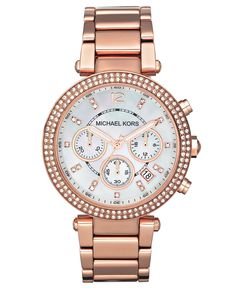 Michael Kors Watch, Women's Chronograph Parker Rose Gold-Tone Stainless Steel Bracelet 39mm MK5491 - Women's Watches - Jewelry & Watches - M...